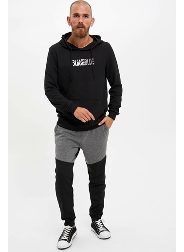 DeFacto Kapüşonlu Baskılı Slim Fit Sweatshirt Siyah